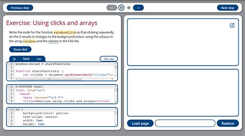 University of Waterloo Open CS - Using JavaScript panels